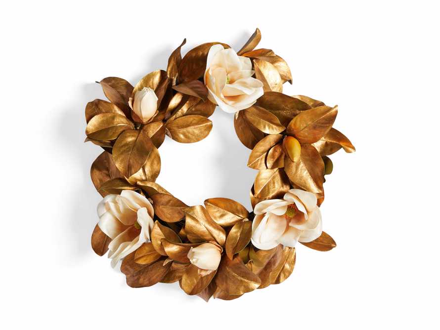 Faux Magnolia Gold Wreath, slide 3 of 3