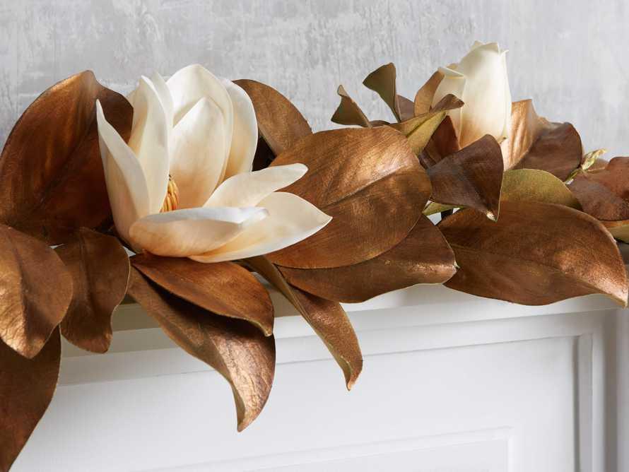 Faux Magnolia Gold Garland, slide 2 of 2