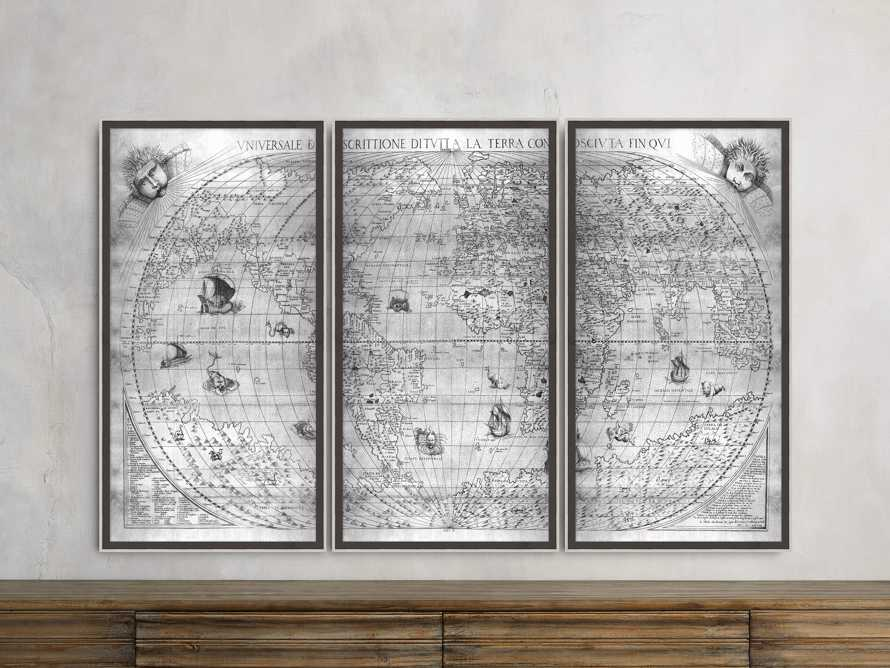 "Silver World Map 22"" X 42"" Triptych, slide 1 of 2"