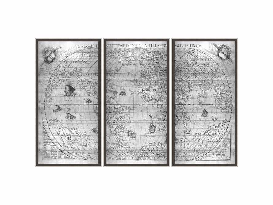 "Silver World Map 22"" X 42"" Triptych, slide 2 of 2"