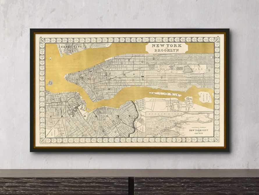 "New York Gold Leaf 37"" X 23"" Map, slide 1 of 2"