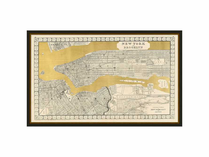"New York Gold Leaf 37"" X 23"" Map, slide 2 of 2"