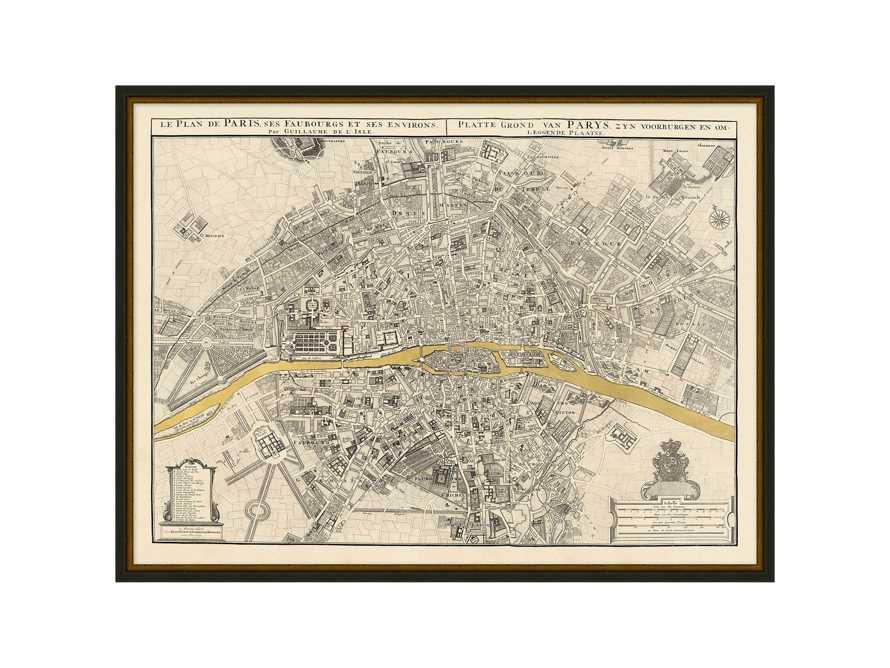 """Paris Gold Leaf 37"""" X 28"""" Map"""