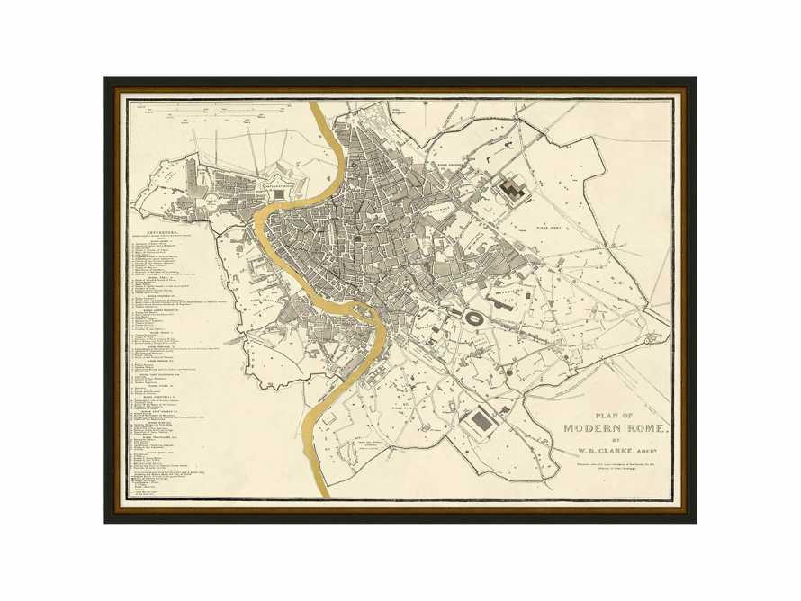 """Rome Gold Leaf 37"""" X 28"""" Map"""