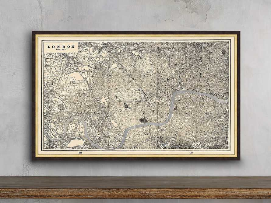 "Silver Leaf London Map - 27.5"" x 16.5"""