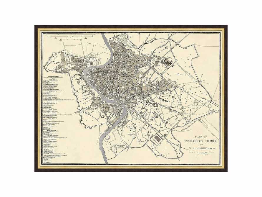 "Silver Leaf Rome Map - 27.5"" X 20.5"""