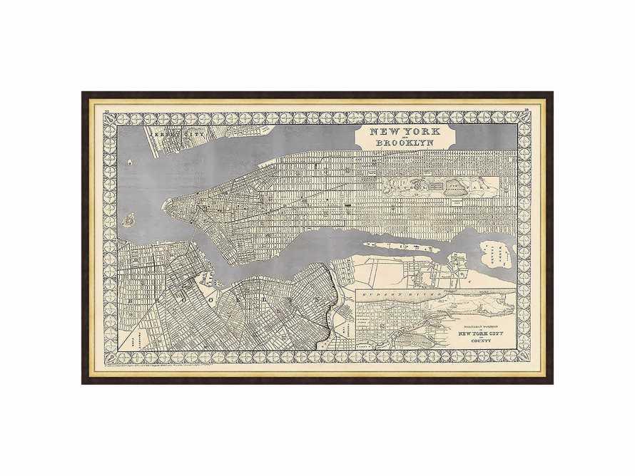 """Silver Leaf New York Map - 27.5"""" X 16.5"""""""