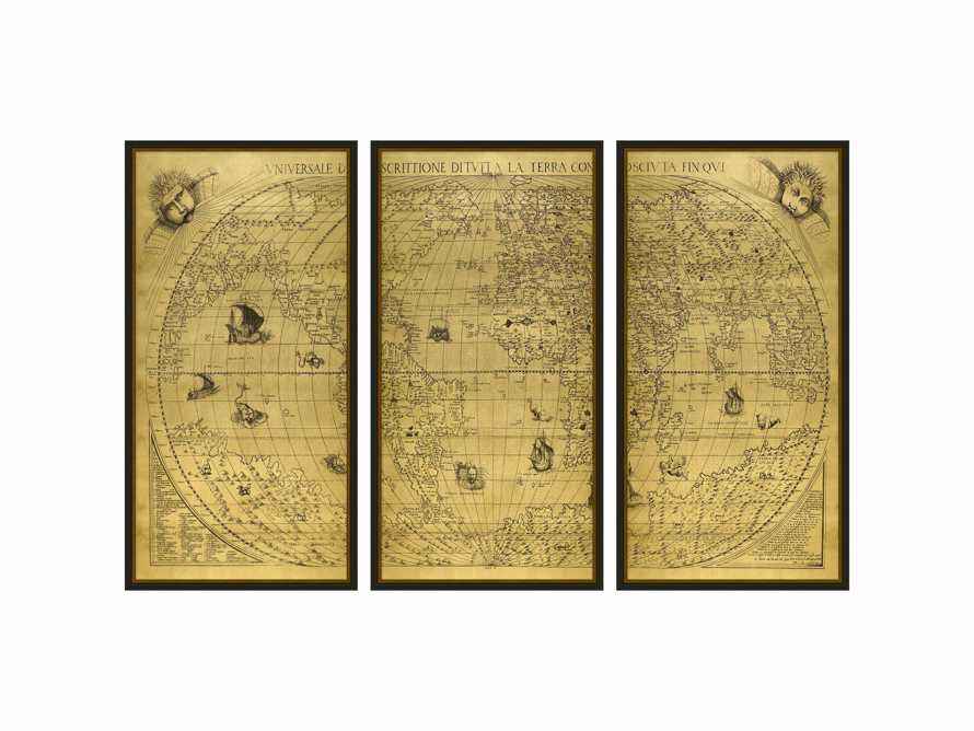 "Gold World Map 15.5"" X 31.5"" Triptych"