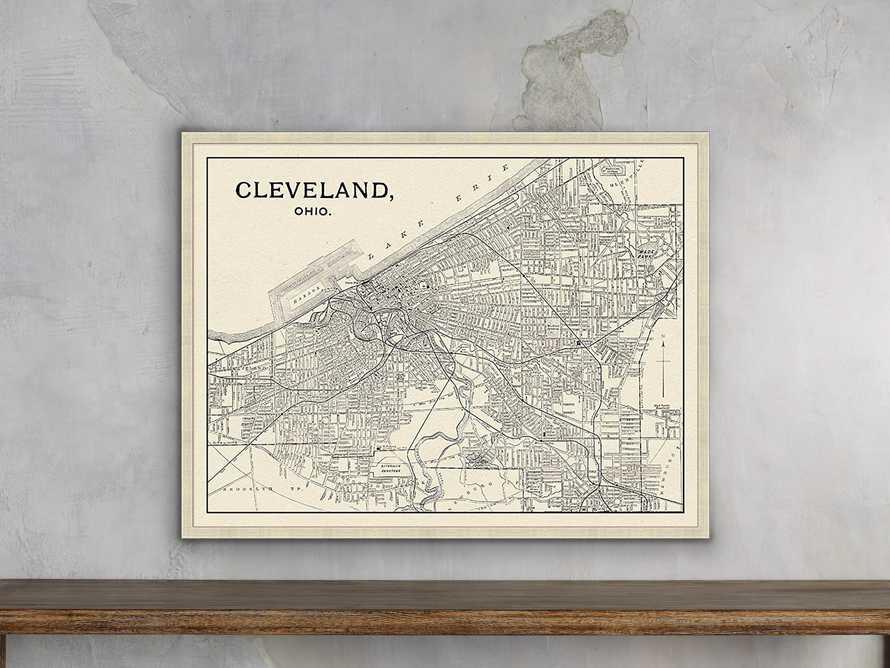 """Cleveland Map 32"""" X 25"""" Framed Print, slide 1 of 3"""