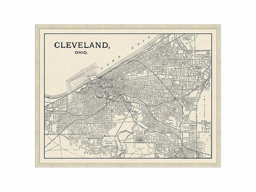 """Cleveland Map 32"""" X 25"""" Framed Print, slide 2 of 3"""