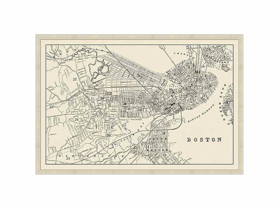 "Boston Map 32"" X 21"" Framed Print"