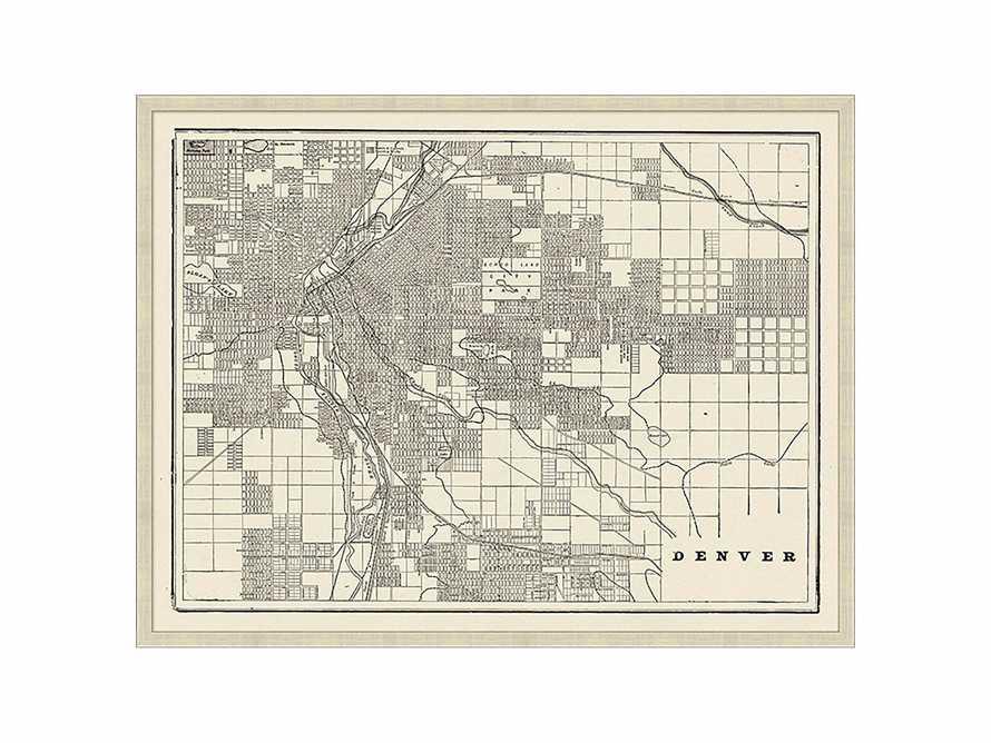 """Denver Map 32"""" X 25"""" Framed Print"""