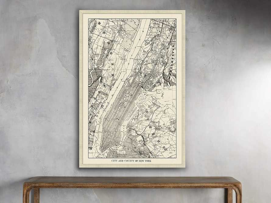 "New York Map 35"" X 52"" Framed Print, slide 1 of 2"