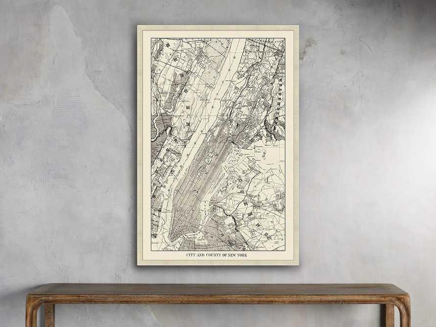 """New York Map 22"""" X 32"""" Framed Print"""