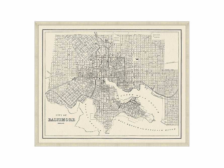 "Baltimore Map 32"" X 26"" Framed Print"