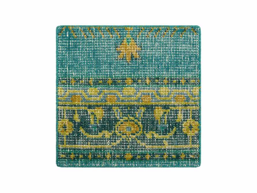 "Jehan Hand Knotted Medallion 18"" Rug Swatch In Teal"