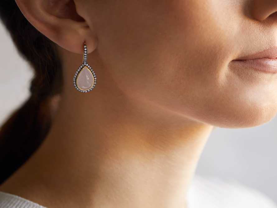 Marzipan Opaque Rose Tear Drop Earrings