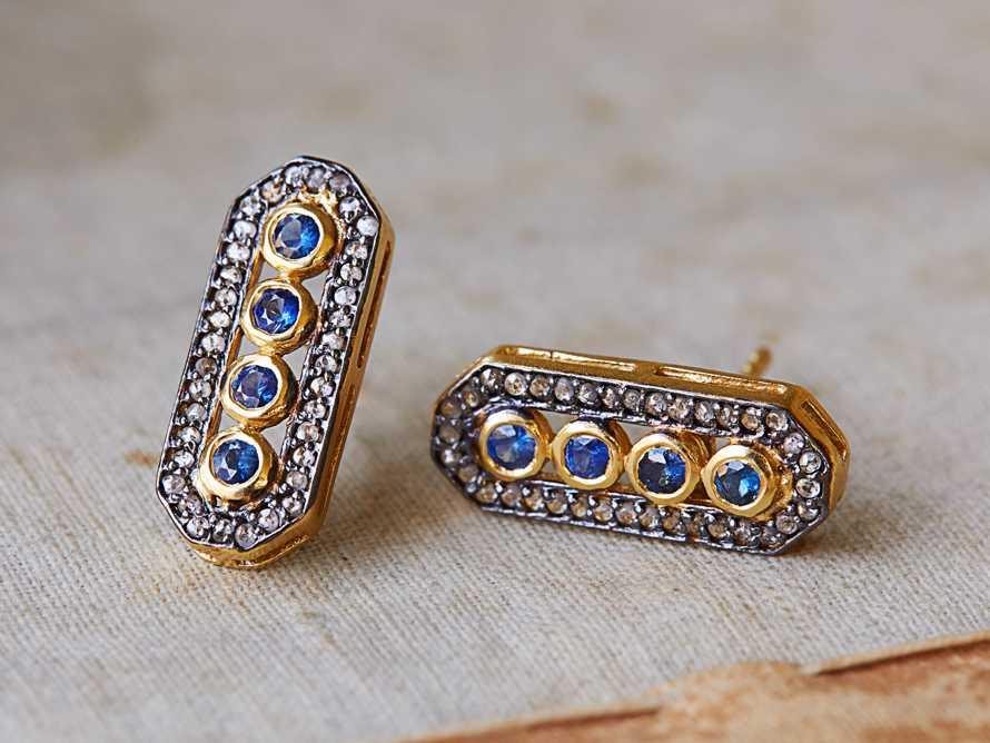 Sapphire Diamond Bar Earrings, slide 1 of 1