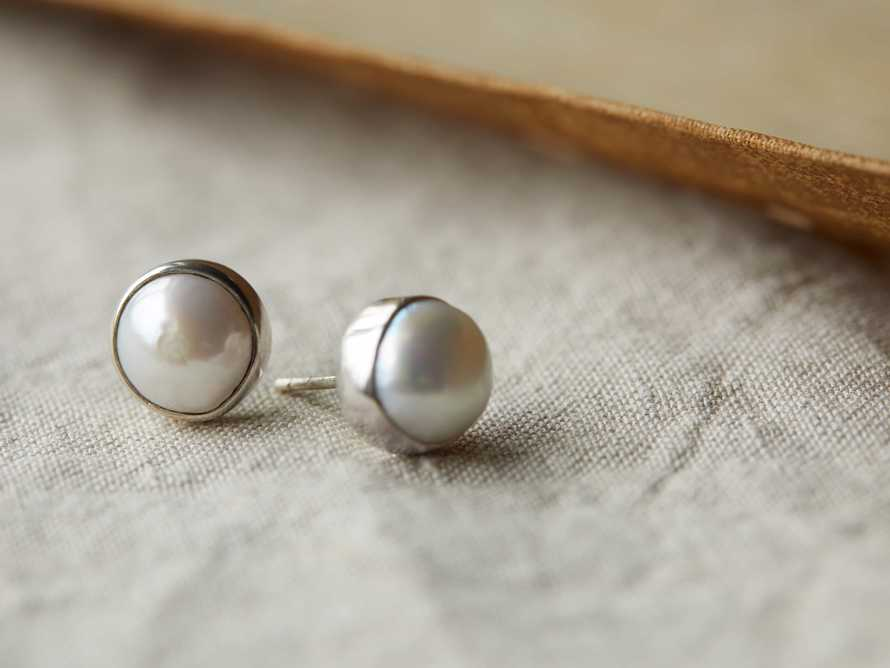Willa Pearl Silver Stud Earrings, slide 1 of 3