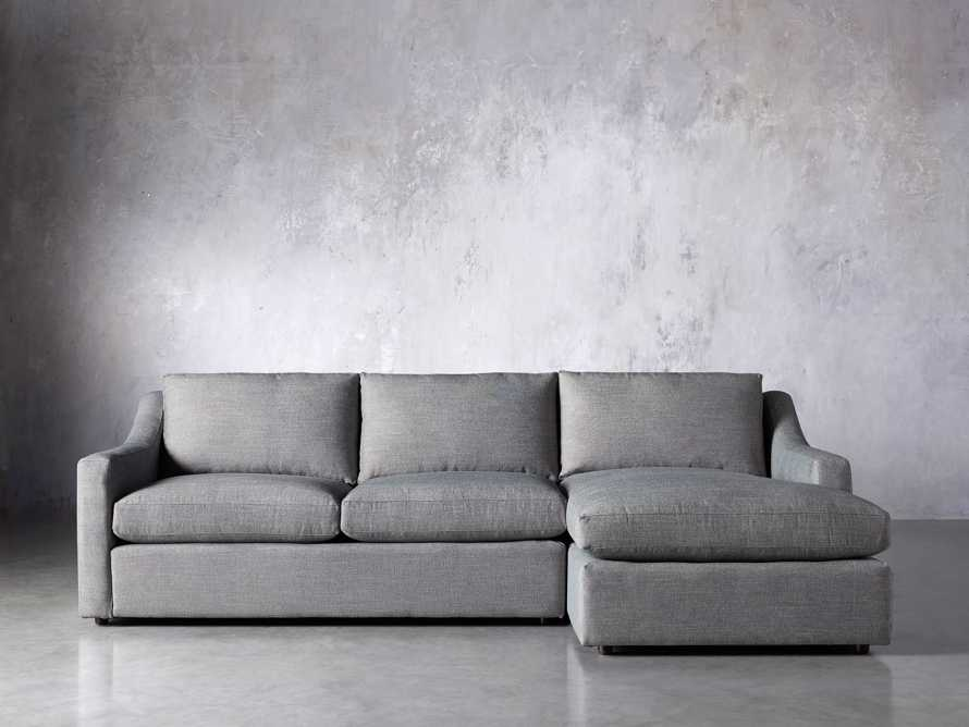 Ashby Upholstered Two Pc R Arm Chaise Sectional in Tolliver Stone