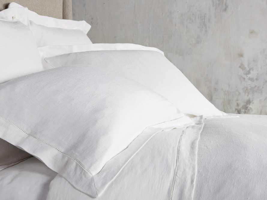 Ava Full/Queen Hem-Stitch Duvet Cover in White