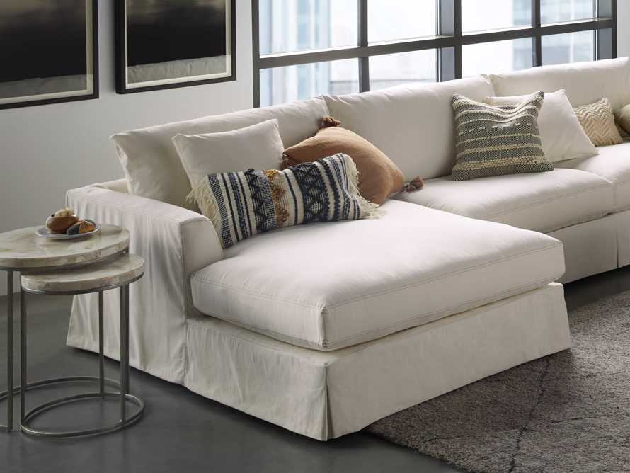 Boho Striped Knot Pillow in Ivory, slide 4 of 4