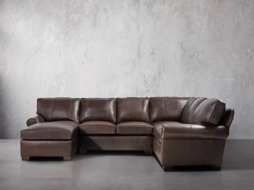 """Brentwood 124"""" Leather Left Arm Three Piece Sectional"""