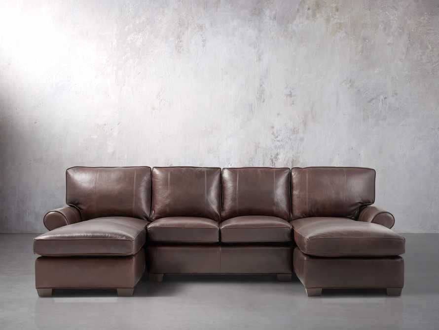 """Brentwood 122"""" Leather Double Chaise Sectional"""