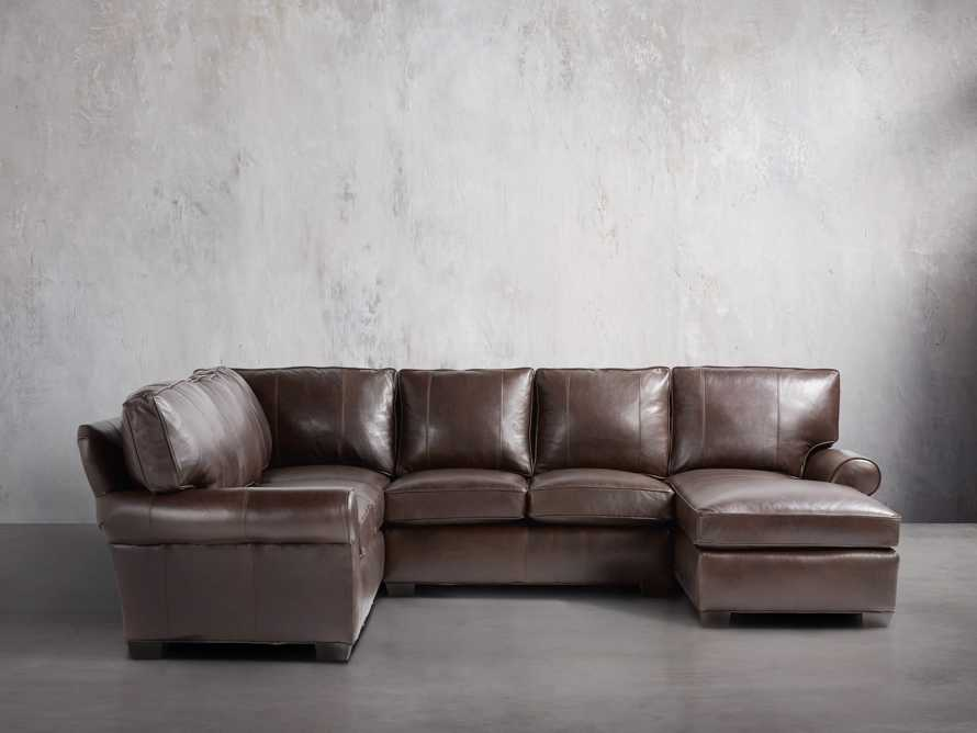 """Brentwood 124"""" Leather Right Arm Three Piece Sectional"""