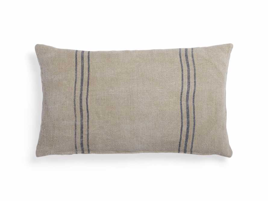 Striped Linen Lumbar Pillow in Natural And Blue