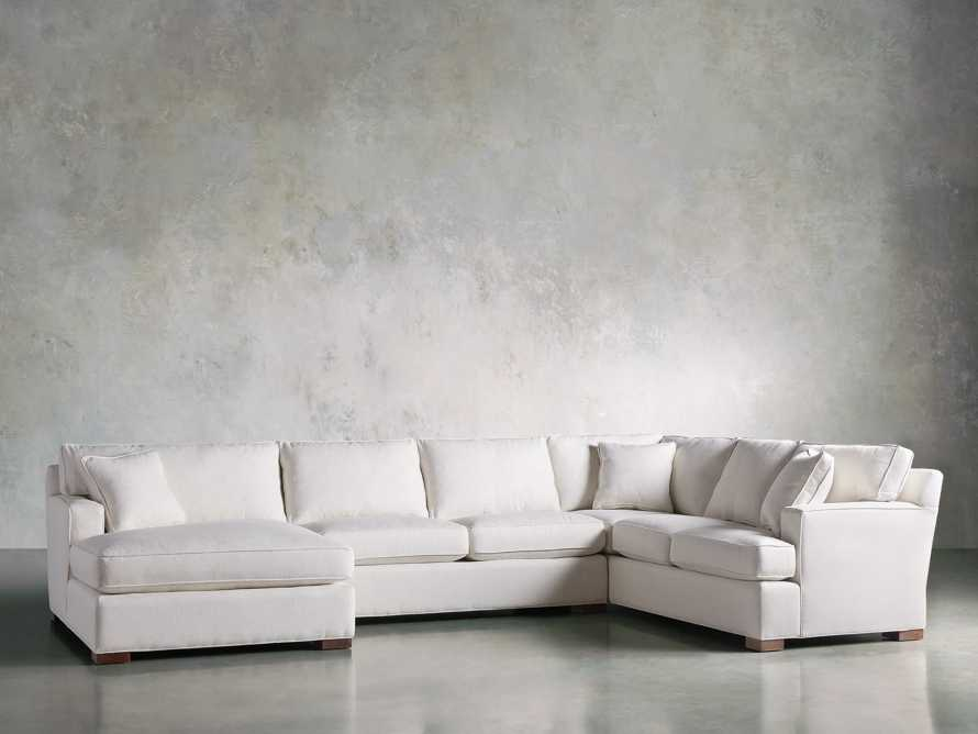 Dune Three Piece Large Chaise Sectional in Cream, slide 3 of 10
