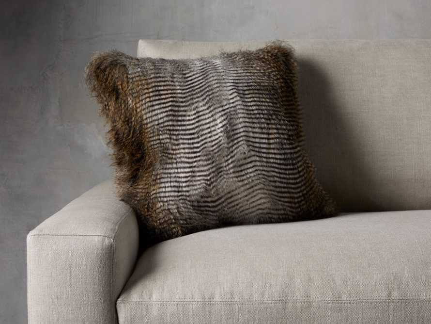 FAUX FUR SQUARE PILLOW COVER IN NATURAL FEATHER, slide 3 of 3