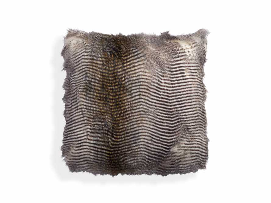 FAUX FUR SQUARE PILLOW COVER IN NATURAL FEATHER, slide 1 of 3