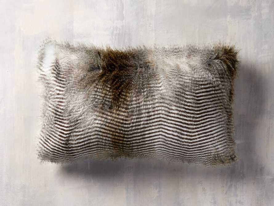 "Faux Fur Feather 24"" Lumbar Pillow in Natural"