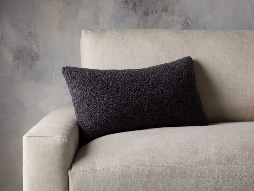 Faux Sherpa Lumbar Pillow Cover in Charcoal, slide 3 of 4