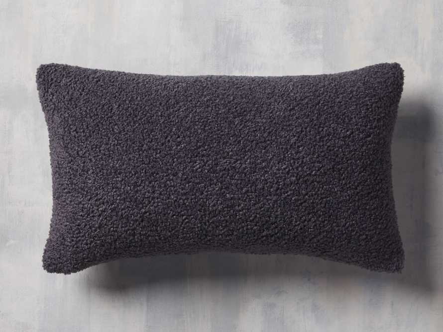 Faux Sherpa Lumbar Pillow Cover in Charcoal, slide 1 of 4