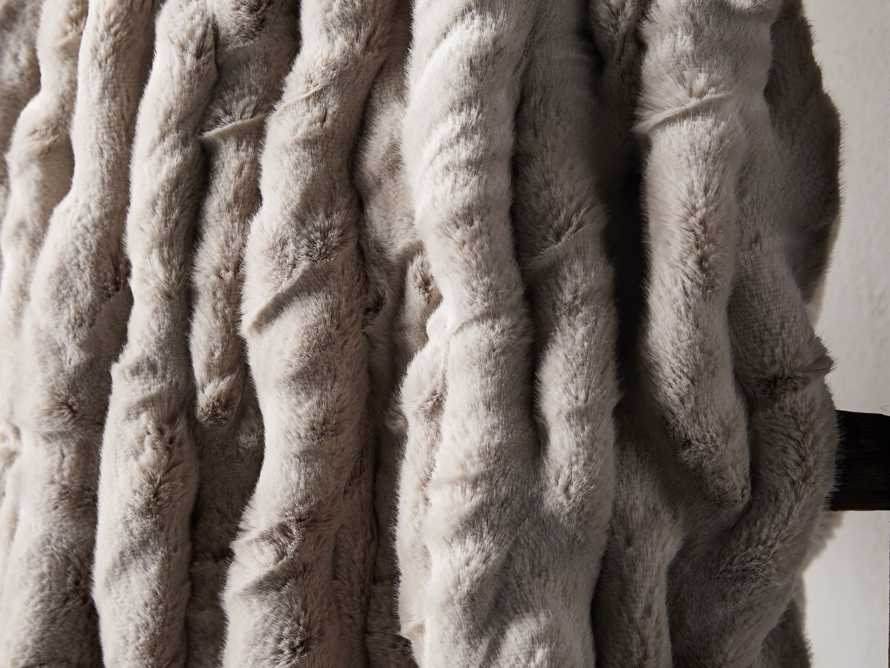 Faux Fur Luxe Grey Pleated Throw, slide 3 of 7