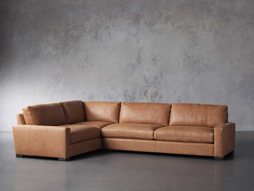 "Remington Deep Springs Leather 138"" Two Piece Sectional, slide 3 of 8"