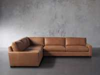 """Remington Deep Down Leather 138"""" Three Piece Sectional in Lanie Camel"""