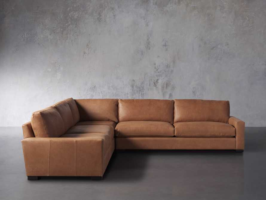 "Remington Deep Down Leather 138"" Three Piece Sectional in Lanie Camel, slide 1 of 5"