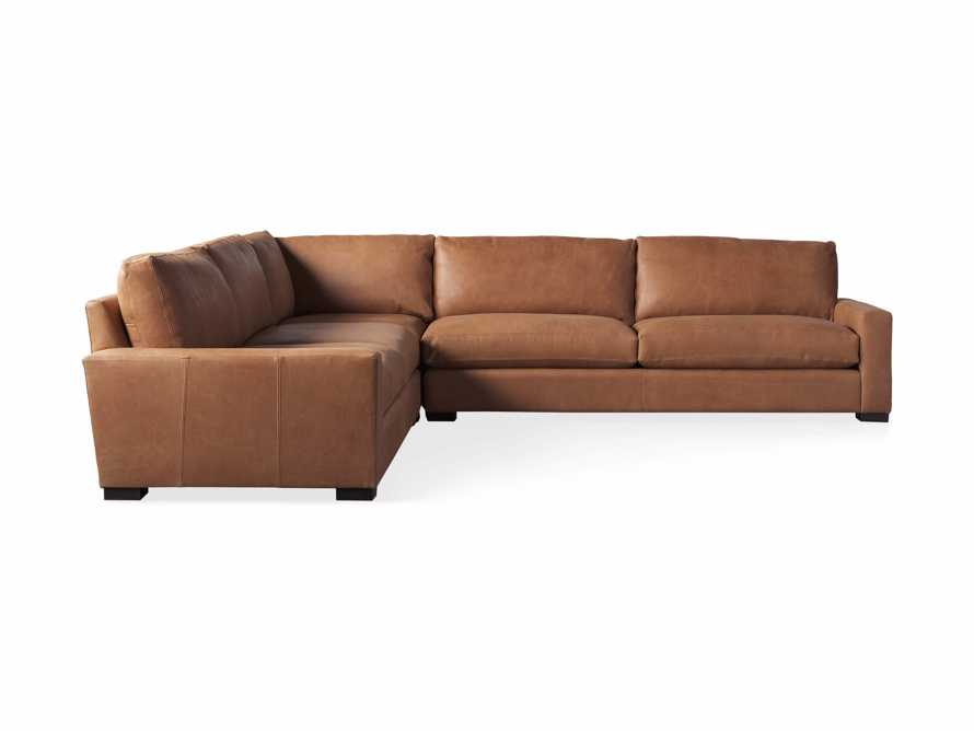 "Remington Deep Down Leather 138"" Three Piece Sectional in Lanie Camel, slide 5 of 5"