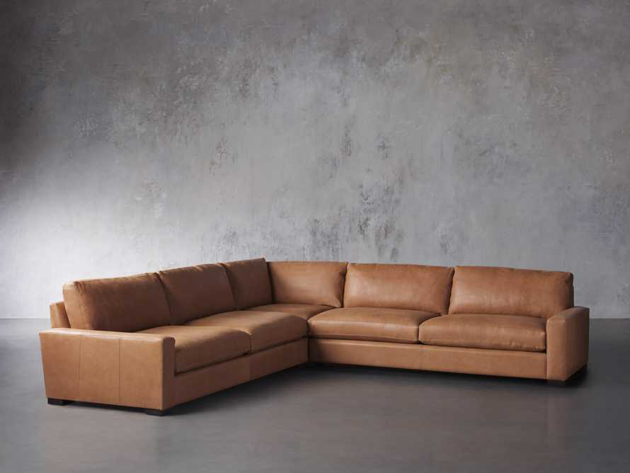 "Remington Deep Down Leather 138"" Three Piece Sectional in Lanie Camel, slide 2 of 5"