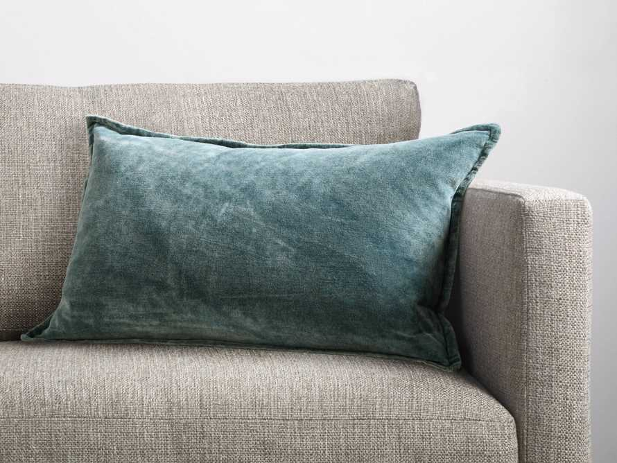 Stone Washed Velvet Lumbar Pillow in Jade, slide 1 of 5