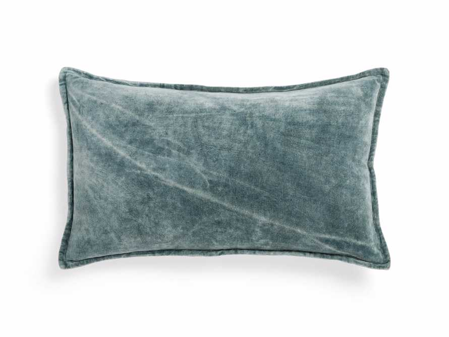 Stone Washed Velvet Lumbar Pillow in Jade, slide 2 of 5