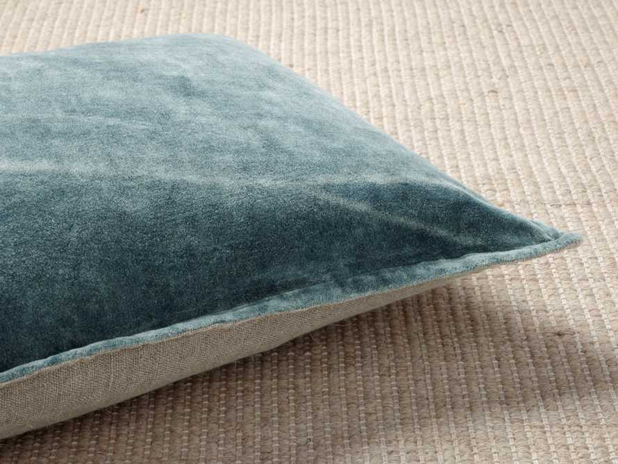 Stone Washed Velvet Lumbar Pillow in Jade, slide 4 of 5