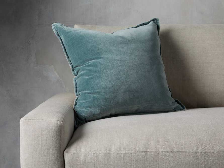 Stone Washed Velvet Square Pillow in Jade, slide 1 of 6