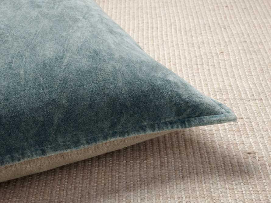 Stone Washed Velvet Square Pillow in Jade, slide 2 of 6