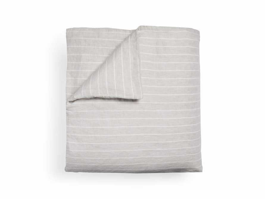 Natural And Ivory Chambray Striped Linen King Duvet Cover