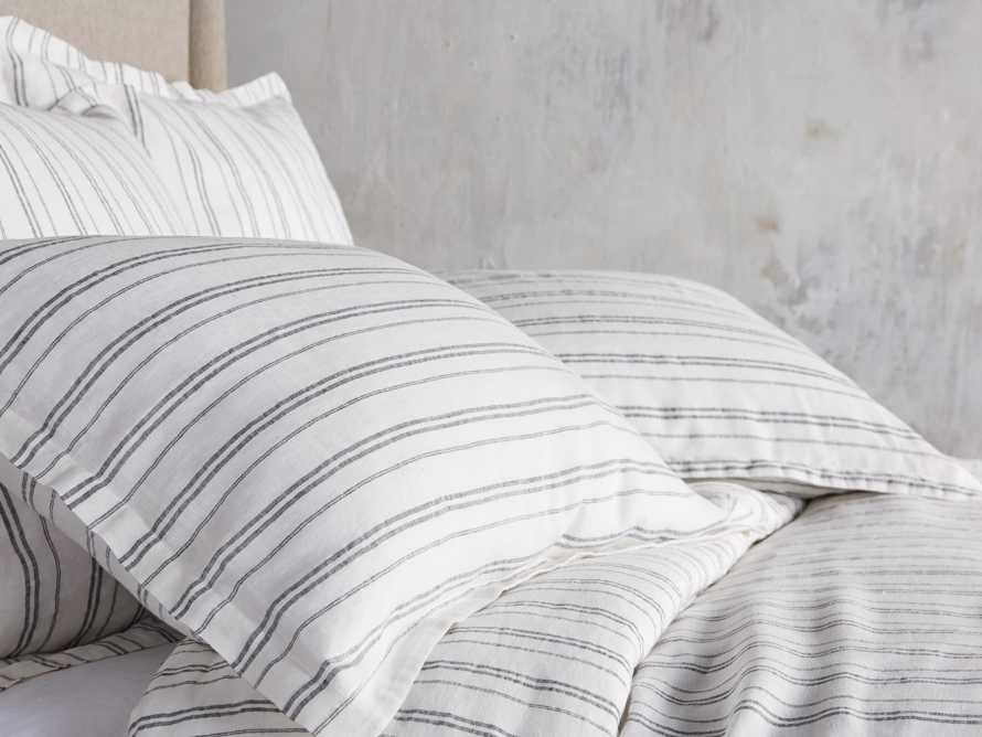 Charcoal And Ivory Striped Linen King Pillow Sham