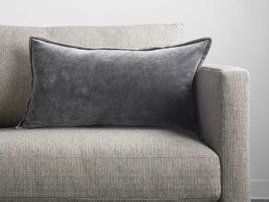 Stone Washed Velvet Lumbar Pillow in Charcoal
